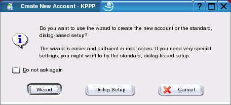 Setup For Linux KDE KPPP - Start the new account wizard