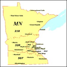 We have dial-up Internet numbers for the area codes in Minnesota: 218, 320, 507, 952, 612, 651, 763