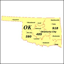 We have dial-up Internet numbers  for the area codes in Oklahoma: 405, 580, 539, 918