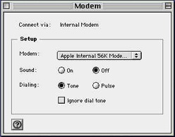 Mac OS 8/9 Dial-Up Internet Setup - Modem Set-ups